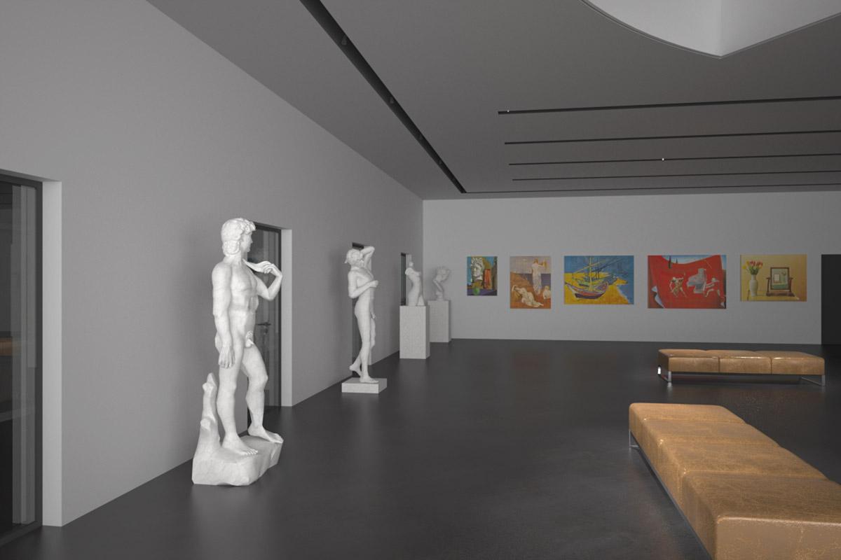 Visualisierung Ausstellungsraum (Tag) - Walter Petrig und Partner AG, Einsiedeln