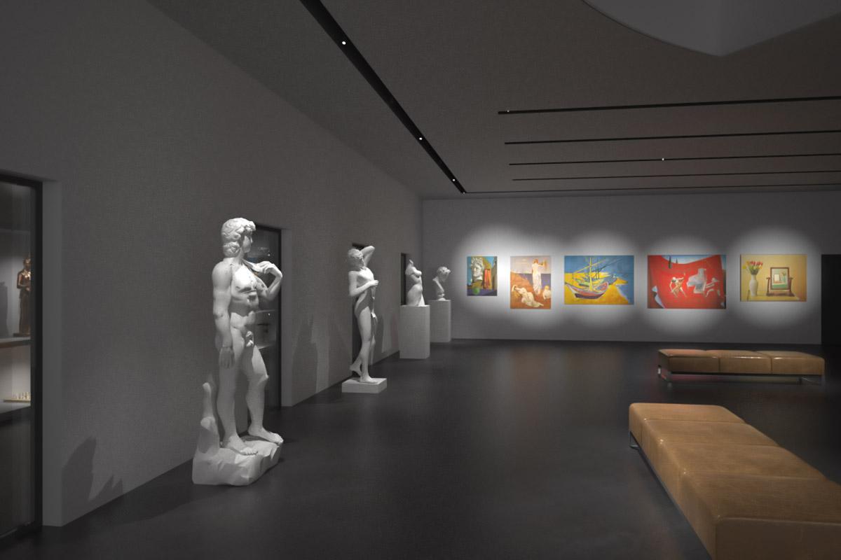 Visualisierung Ausstellungsraum (Nacht) - Walter Petrig und Partner AG, Einsiedeln