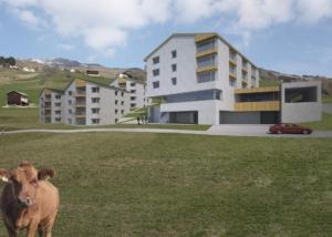 Visualisierung Wohnüberbauung mit Hotel in den Bergen - Projektstudie - Vincenz + Weishaupt Architekten AG, Ilanz