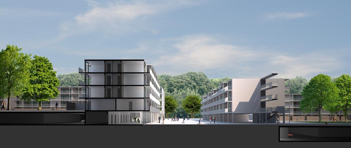 Visualisierung Wohnüberbauung Bern Brünnen - Projektwettbewerb - ARGE Schelling Spycher Wälchli, Zürich