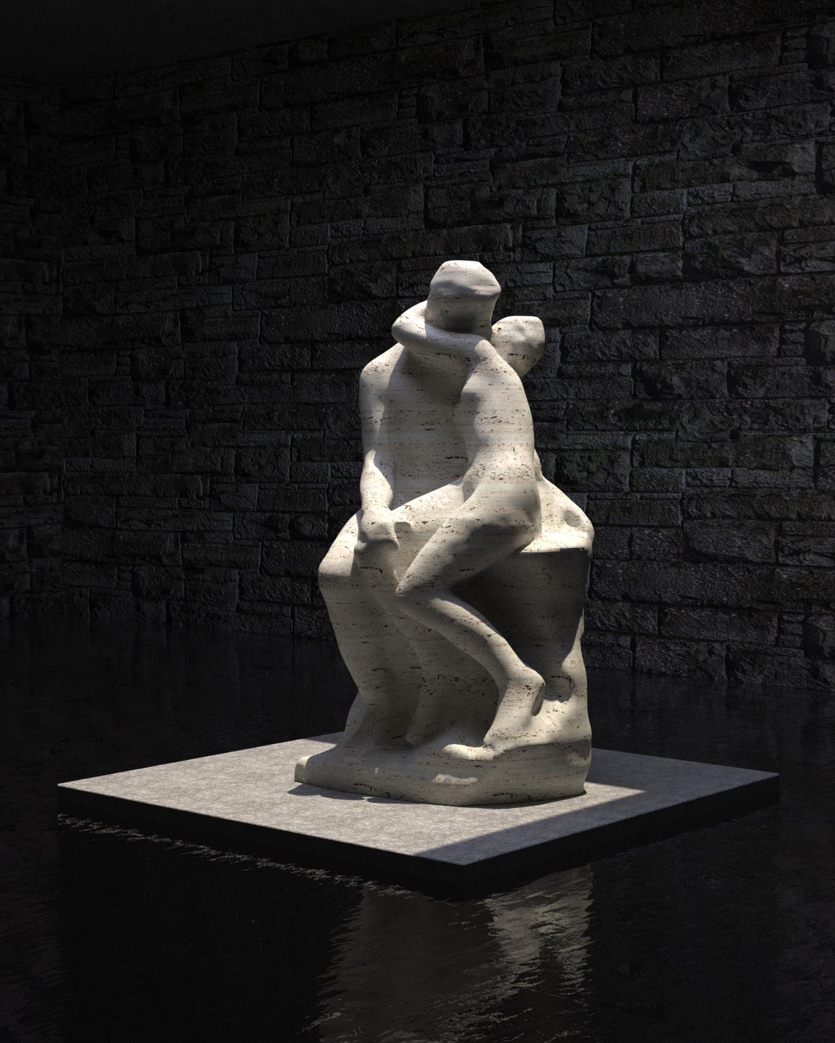 "Visualisierung Interpretation des ""Kusses"" von Auguste Rodin"