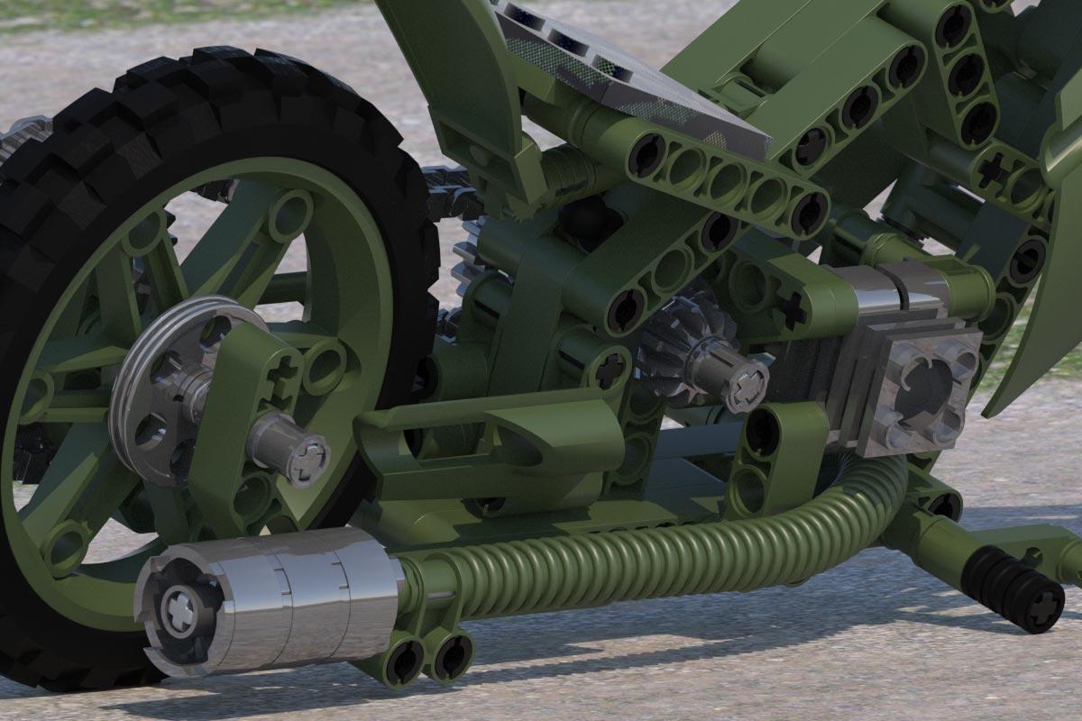 3D-Rendering Lego Technik Mod. 8291-2 (Customized) - Military Look