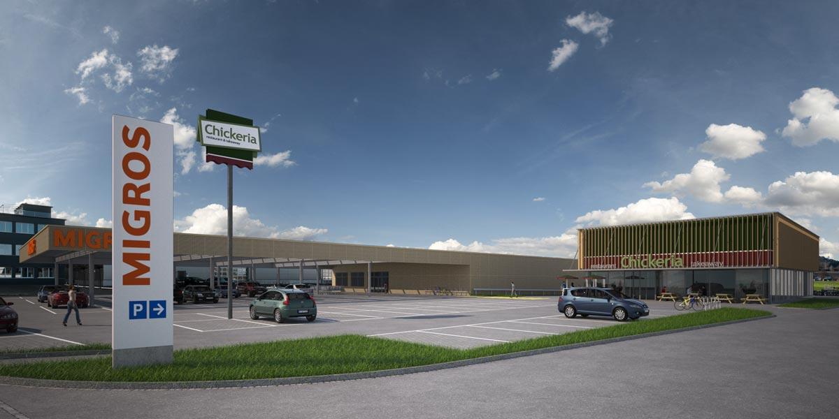 Visualisierung Migros Supermarkt und Chickeria- architekten : rlc ag, Rheineck