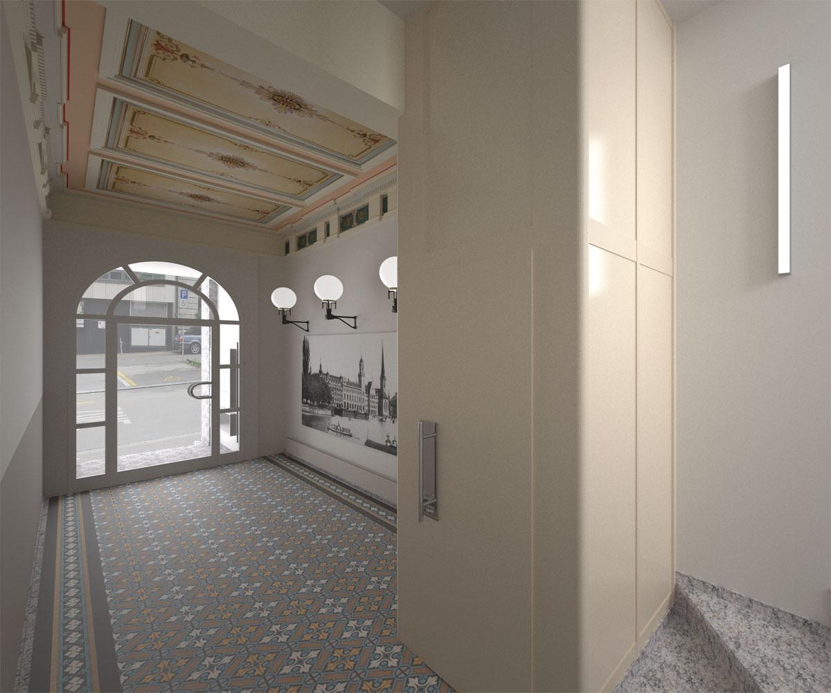 Visualisierung Materialstudie Umbau Treppenhaus, H & B Real Estate AG, Zürich