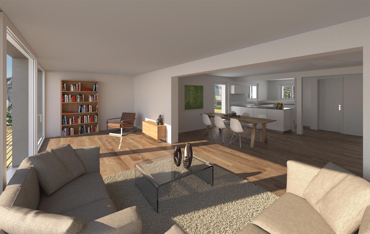 Visualisierung Wohnbereich, C. Naef AG, Wil (SG)