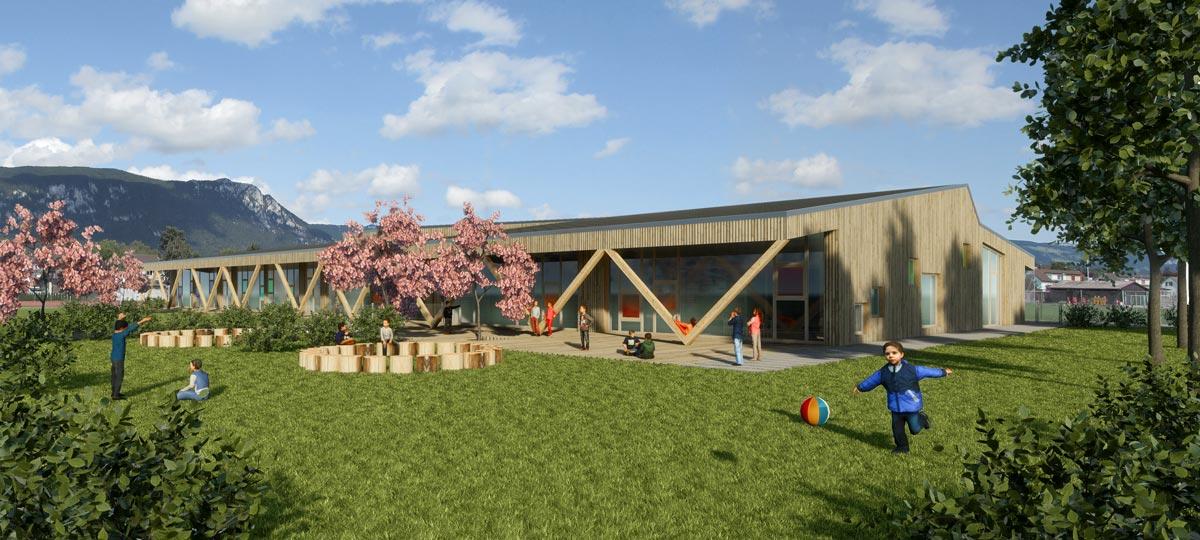 Visualisierung Kindergarten, Architekturwettbewerb, bauwelt architekten ag, Biel