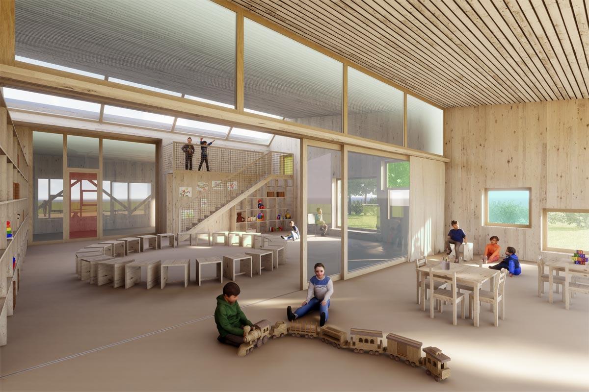 Visualisierung Kindergarten Architekturwettbewerb, bauwelt architekten ag, Biel