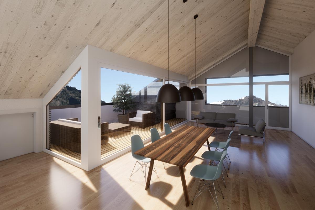Visualisierung Essbereich, JB Architekturbüro AG, Appenzell