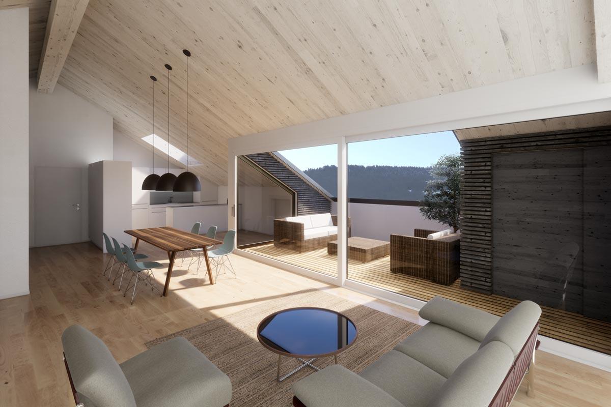 Visualisierung Wohnbereich, JB Architekturbüro AG, Appenzell