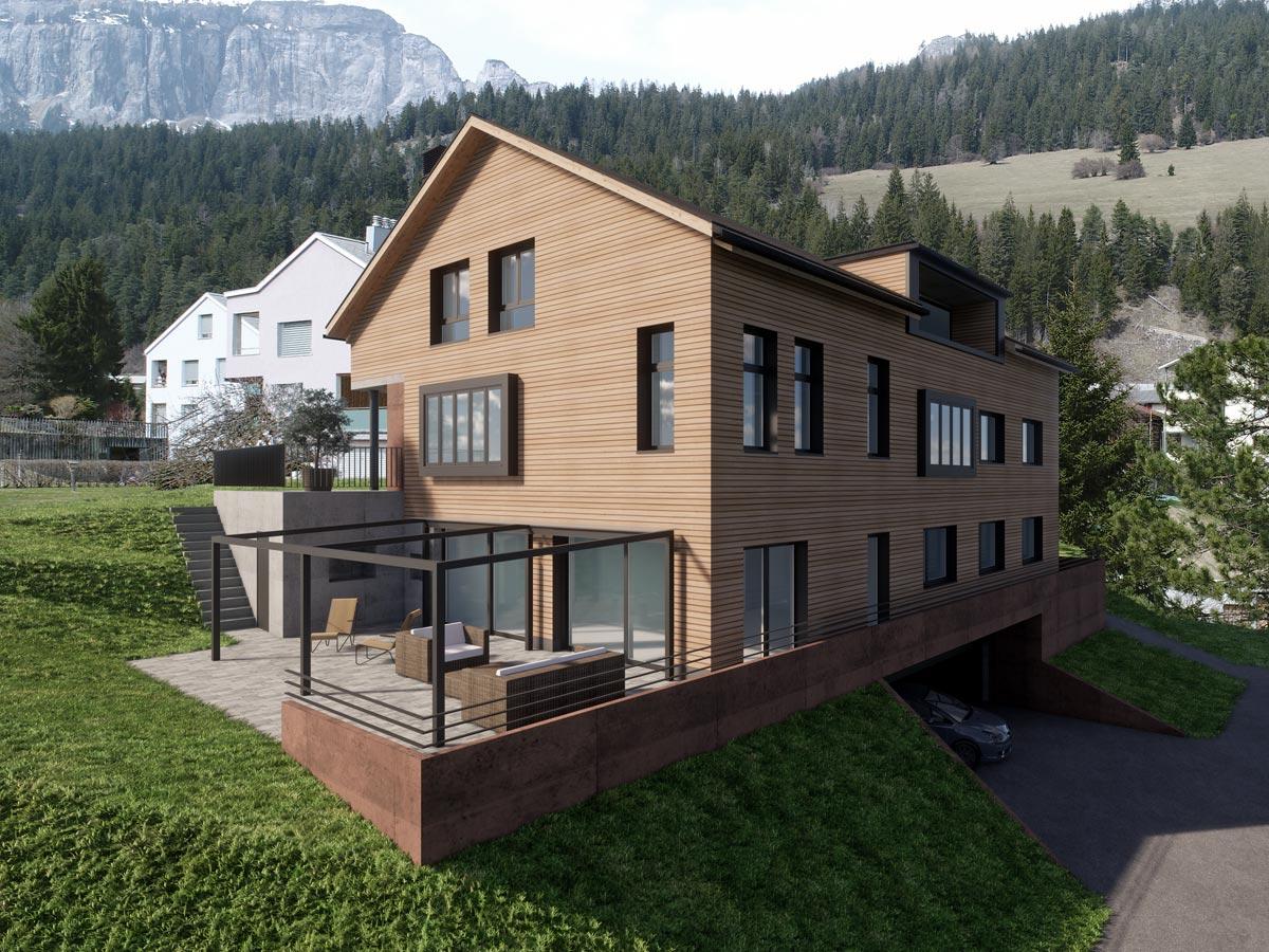 Visualisierung Wohnhaus, Marcus Gross & Werner Rüegg, Dipl. Architekten FH/SIA AG, Flims