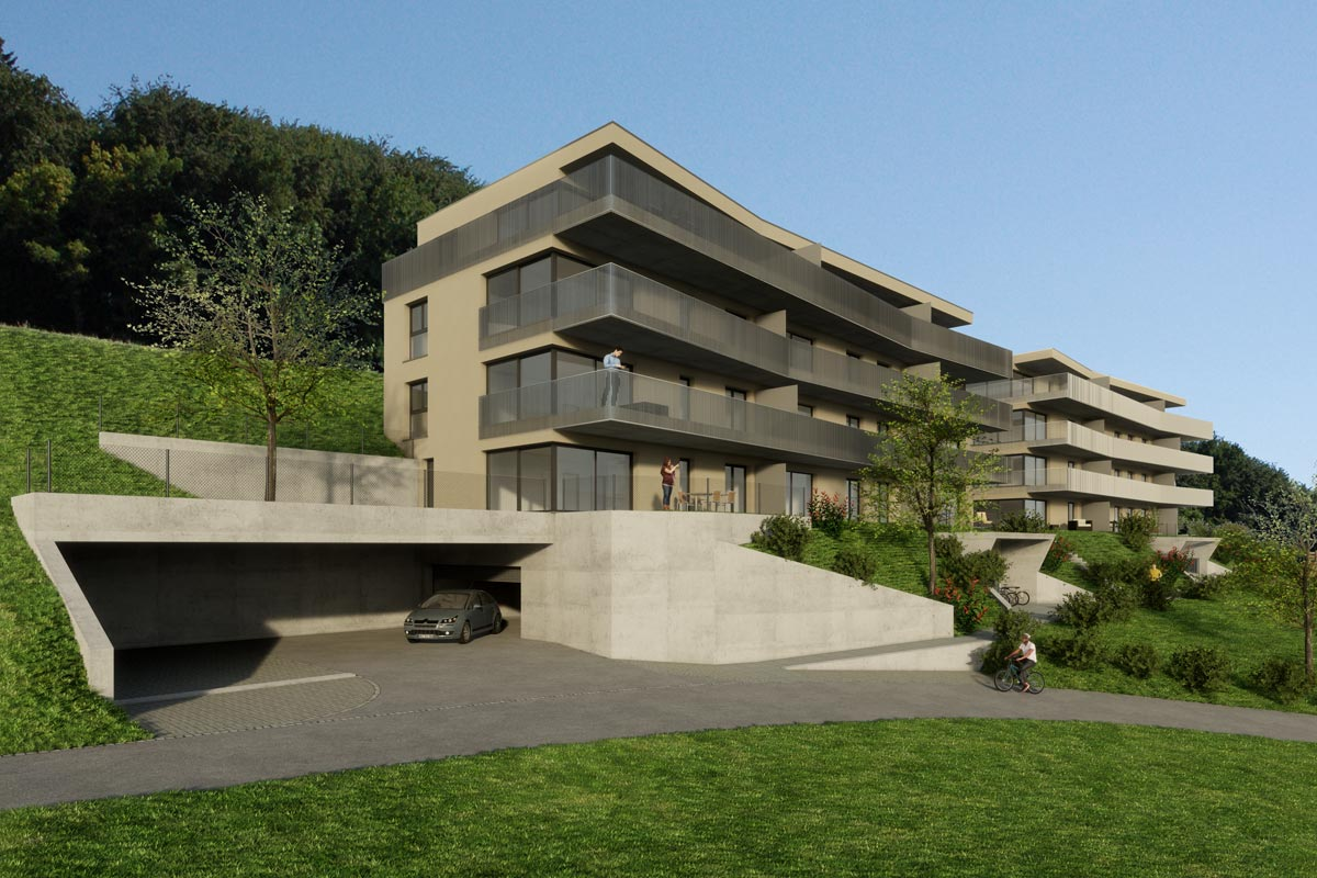 Visualisierung Wohnüberbauung, Architekturwettbewerb, bauwelt architekten ag, Biel
