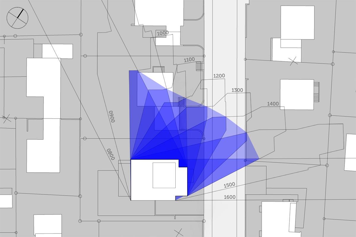 Schattendiagramm, Dauerschatten, Schattenverlauf 16:00 Uhr