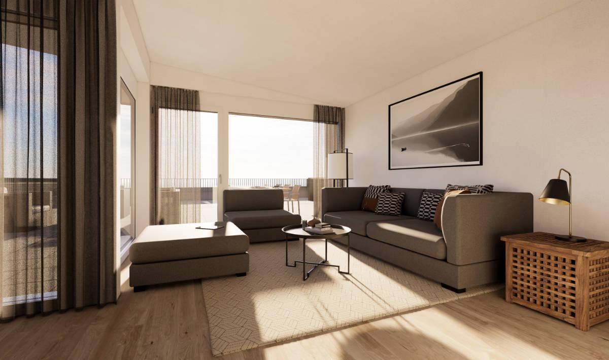 Visualisierung Wohnbereich Attika - Suter Architekten AG, Birr