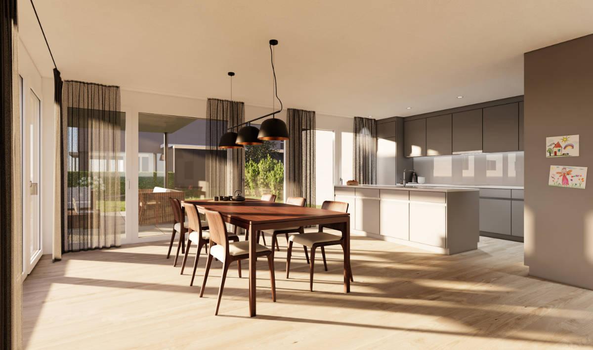 Visualisierung Essbereich/Küche Eckhaus - Suter Architekten AG, Birr