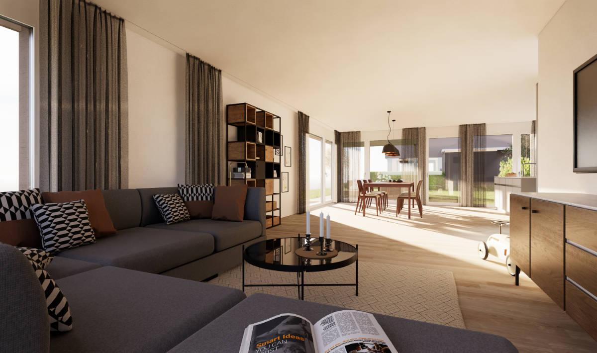 Visualisierung Wohn-/Essbereich Eckhaus - Suter Architekten AG, Birr