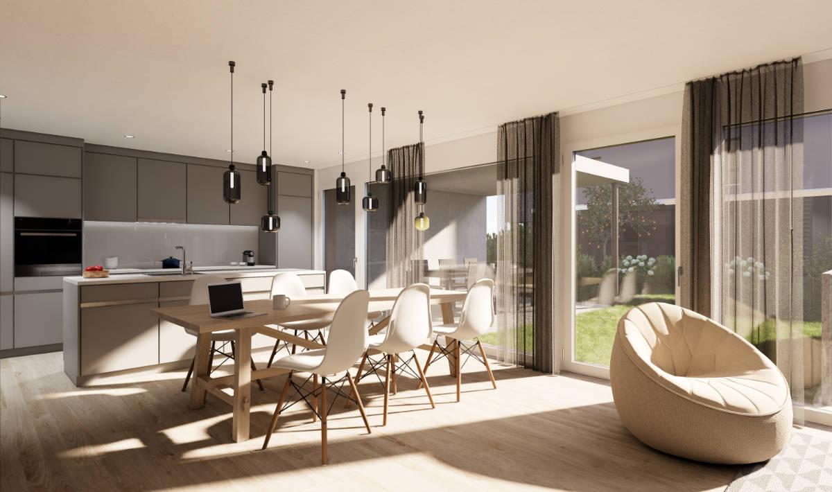 Visualisierung Essbereich/Küche - Suter Architekten AG, Birr