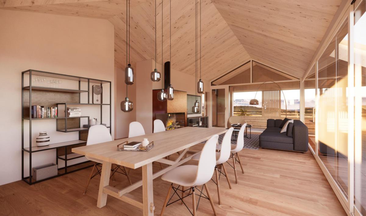 Visualisierung Wohn-/Essbereich Dachwohnung - JB Architekturbüro AG, Appenzell
