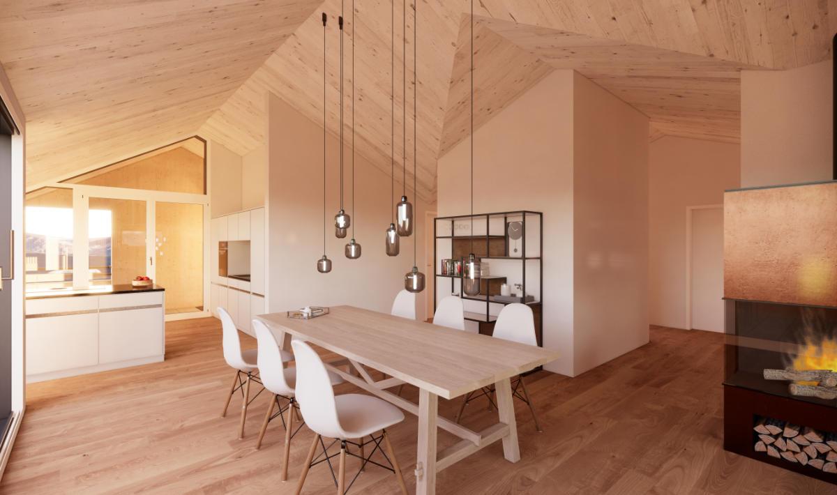 Visualisierung Essbereich/Küche Dachwohnung - JB Architekturbüro AG, Appenzell