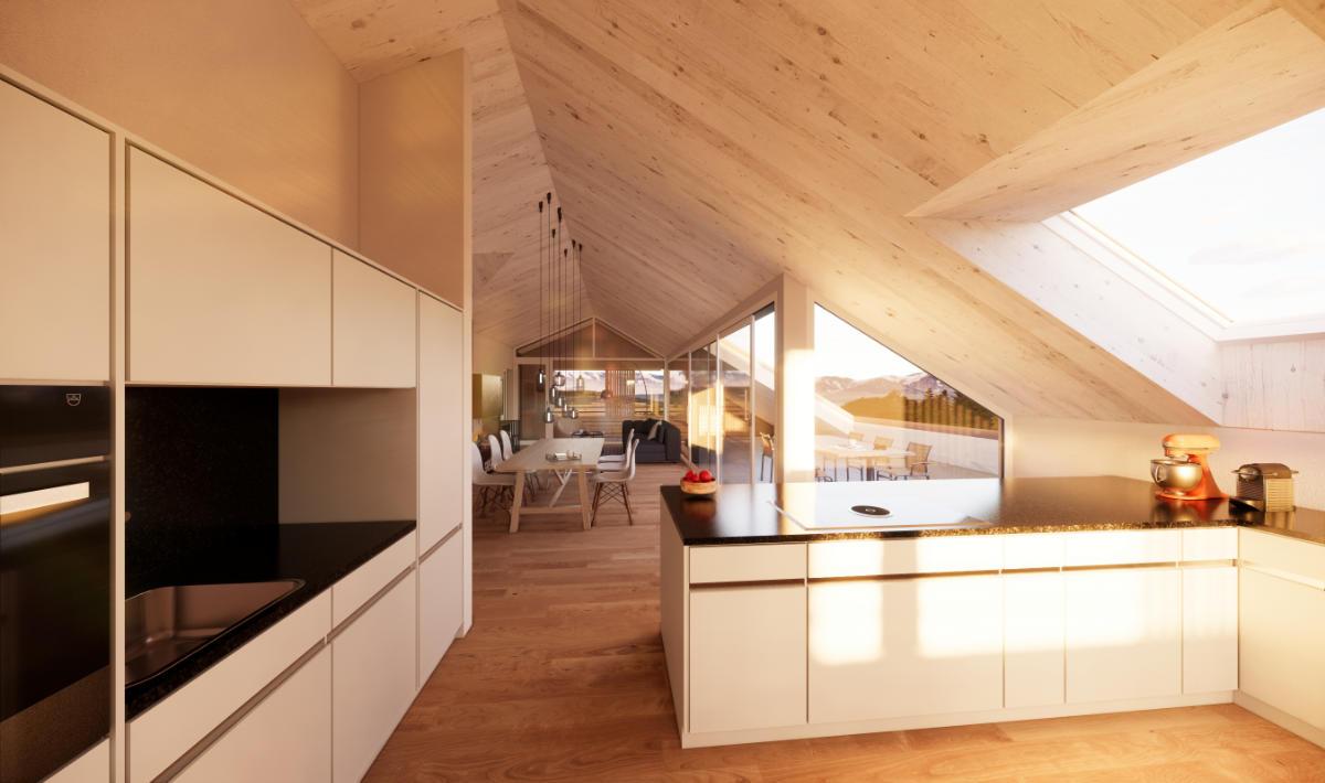 Visualisierung Küche Dachwohnung - JB Architekturbüro AG, Appenzell