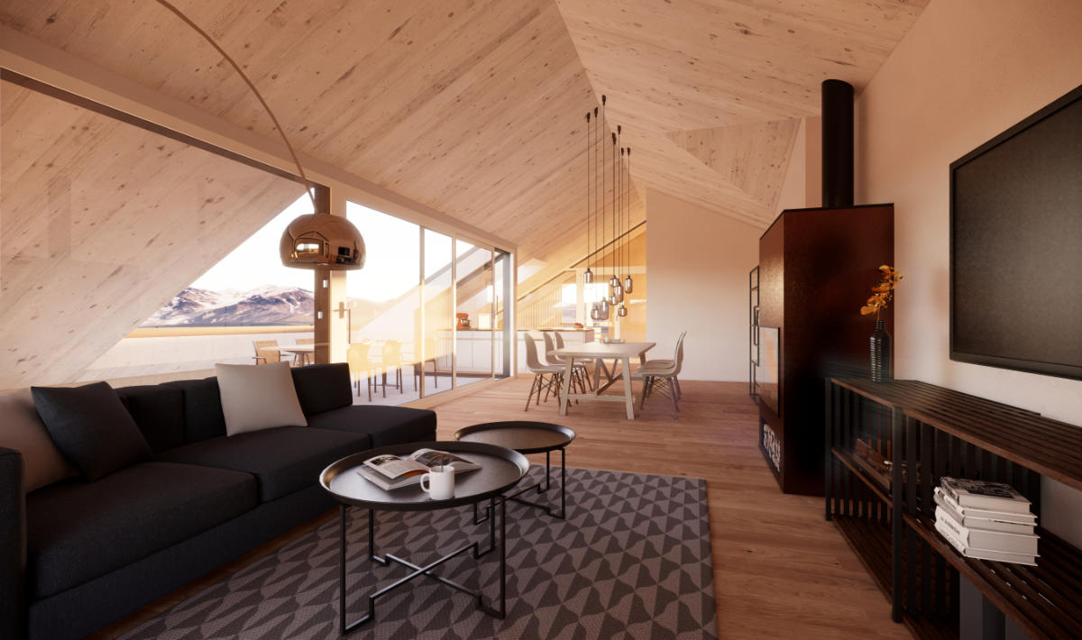Visualisierung Wohnbereich Dachwohnung - JB Architekturbüro AG, Appenzell