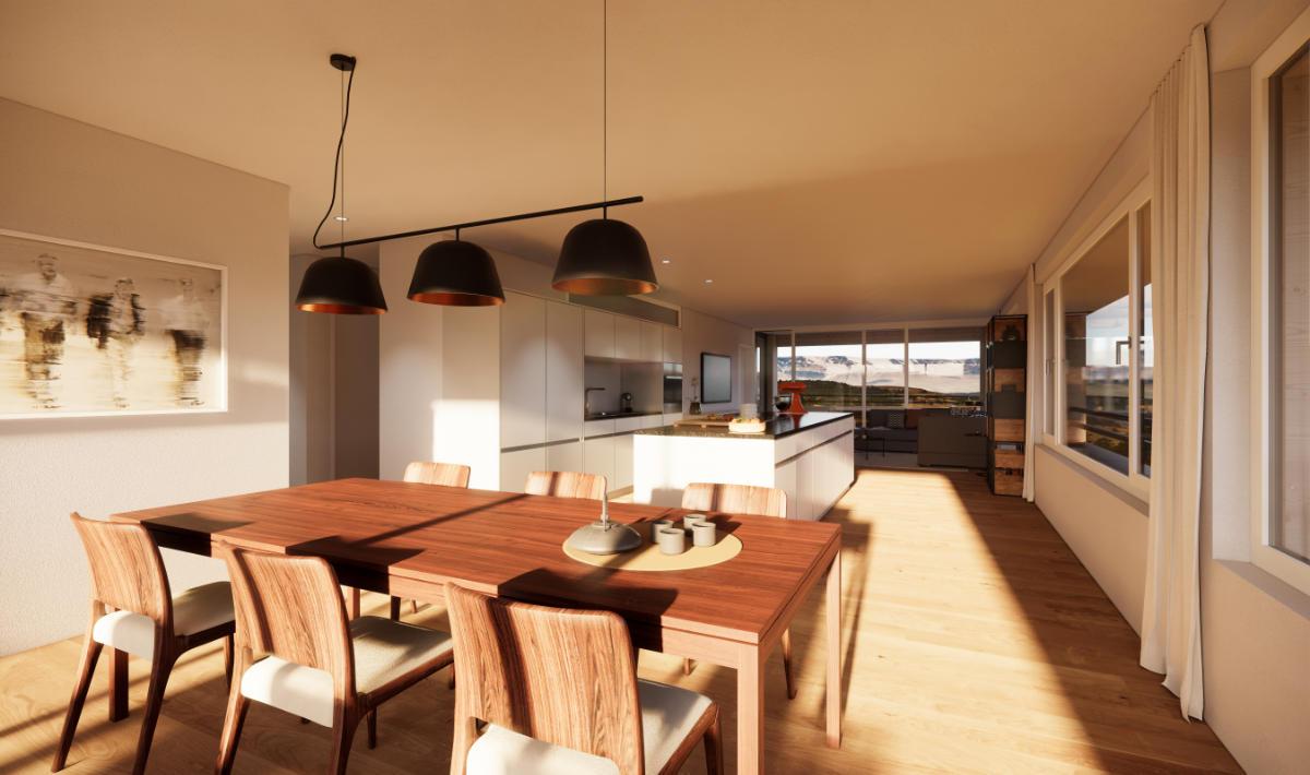Visualisierung Essbereich/Küche Geschosswohnung - JB Architekturbüro AG, Appenzell