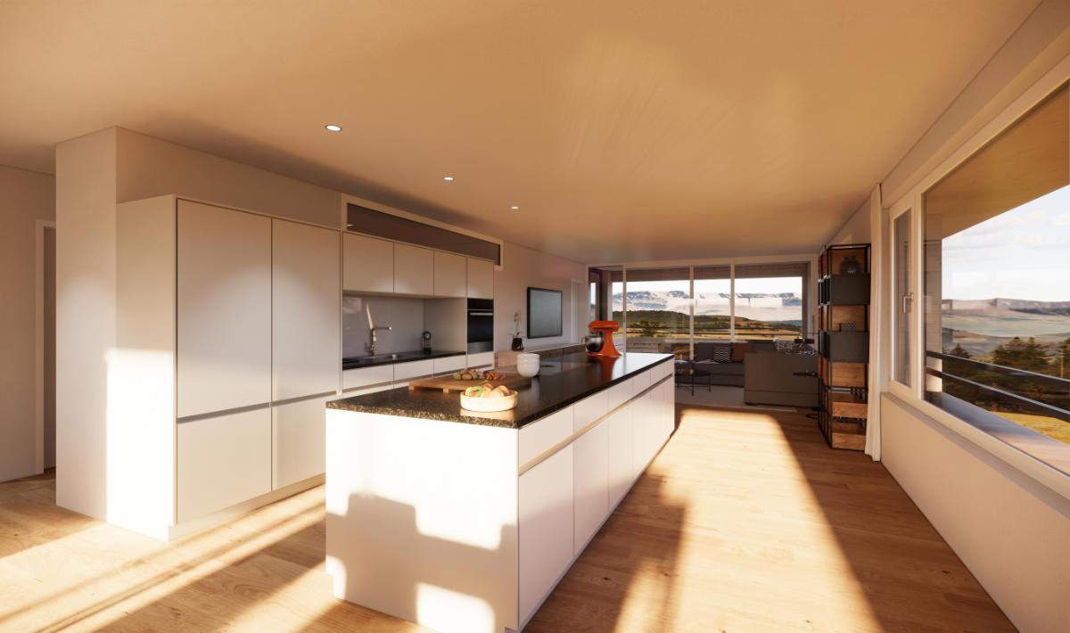 Visualisierung Küche Geschosswohnung - JB Architekturbüro AG, Appenzell