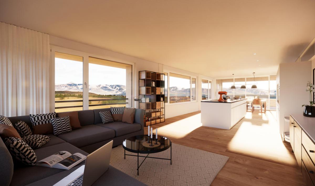 Visualisierung Wohnbereich Geschosswohnung - JB Architekturbüro AG, Appenzell
