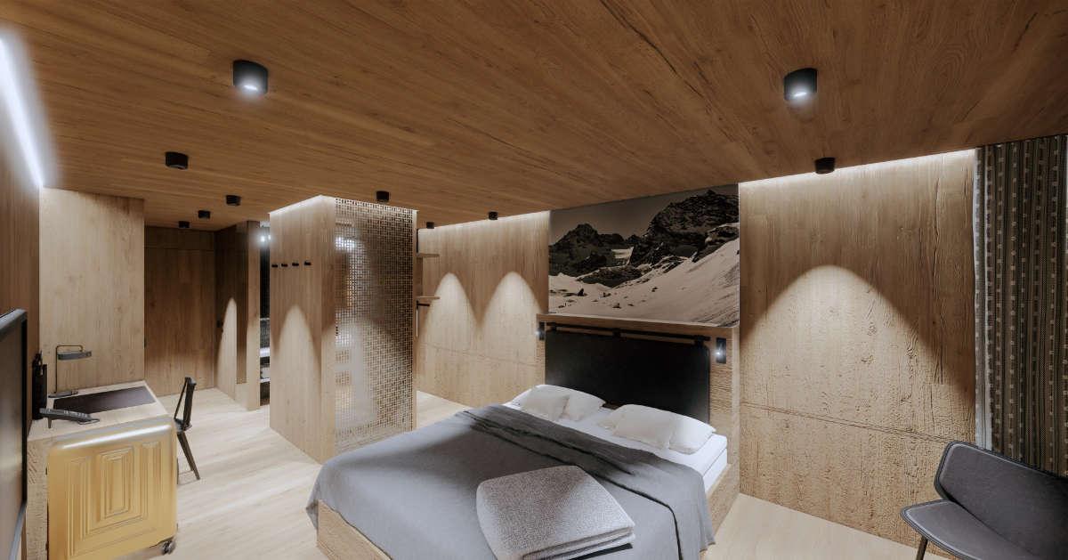 Visualisierung Hotelzimmer V17.1 bei Tag - Ritter Schumacher AG, Chur