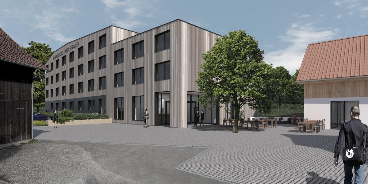 Visualisierung Businesshotel - archform dipl. architekten gmbh, St. Gallen